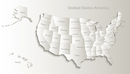 USA map with Alaska and Hawaii map separate states individual names card paper 3D natural vector Ilustração