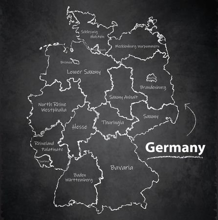 Deutschland Karte separate Region individuelle Namen Tafel Tafelvektor Vektorgrafik