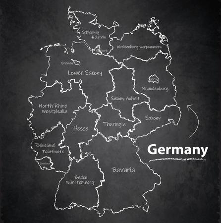 Germany map separate region individual names blackboard chalkboard vector Vector Illustration