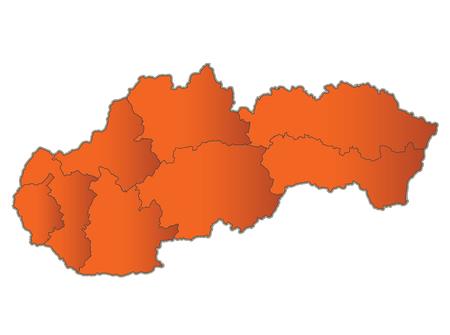 Slovakia Republic map Orange separate region individual blank raster