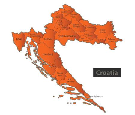 Croatia map Orange separate region individual names