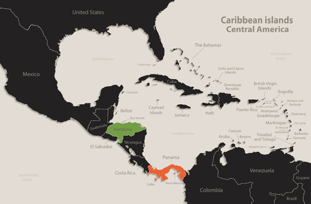 Caribbean islands Central America map