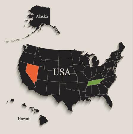 USA map with Alaska and Hawaii Illustration