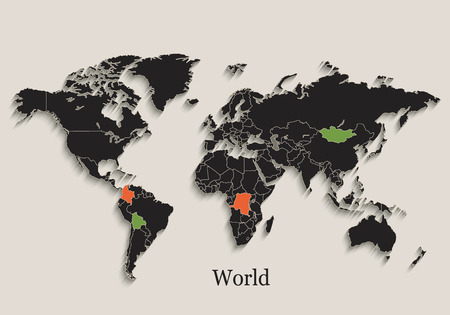 World map Black color blackboard isolated states individual vecto