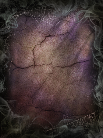 Cobwebs and smoke background for a Halloween violet cracked wall Banco de Imagens
