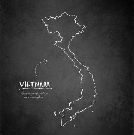 Vietnam map blackboard chalkboard