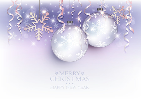Christmas balls and snow flake background violet white silver Vetores