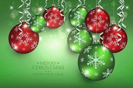 Christmas balls greeting card green red Background colors vector