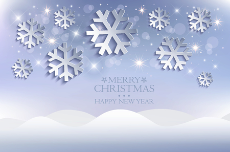 Snow flakes Christmas background snowdrift blue vector Vectores