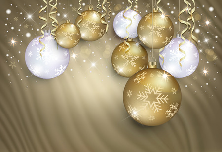 Christmas balls on a gold background from a curtain, congratulations card Stock Photo