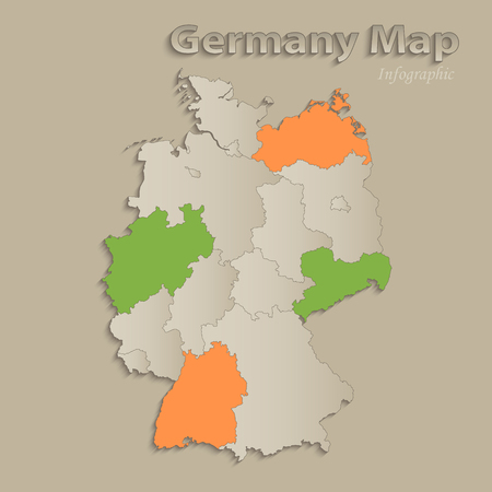 Germany map with individual states separated, infographics with icons vector Ilustração