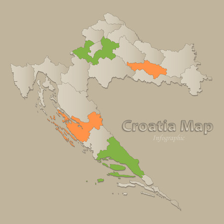 Croatia map with individual states separated, infographics vector