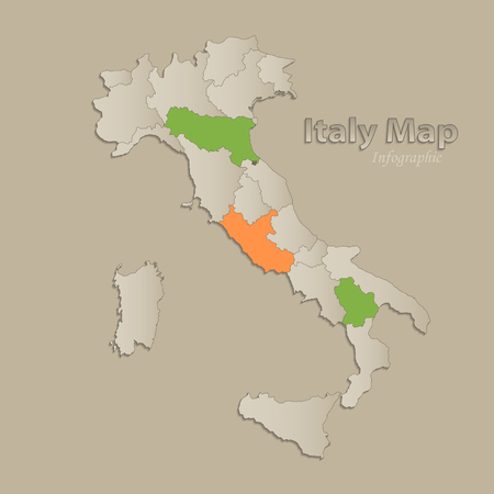 Italy map with individual states separated, infographics vector