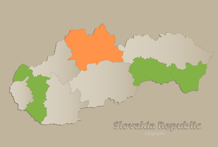 Slovakia Republic map with individual states separated, infographics vector