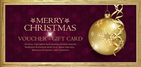 Exclusive gold gift voucher with wishes Merry christmas background purple with snowflakes vector