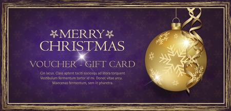 Exclusive gold gift voucher with wishes Merry christmas background violet with snowflakes vector Illustration