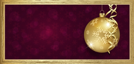 Exclusive gold gift voucher with wishes Merry christmas background purple with snowflakes raste Stock Photo
