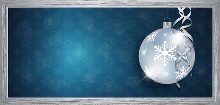 Exclusive silver gift voucher with wishes Merry christmas background with snowflakes raster