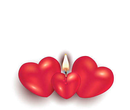 Burning candle heart on white background greeting card to happy Valentine's Day for love Ilustração