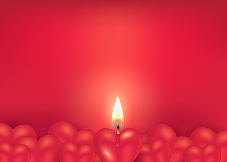 Burning candle heart on red background, greeting card to happy Valentine's Day for love vector