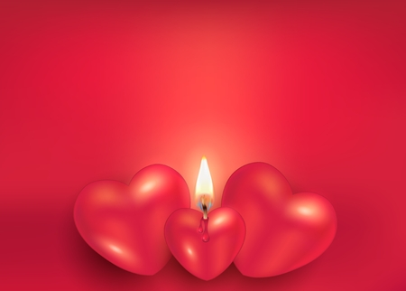 Burning candle heart on red greeting card to happy Valentine's Day for love vector