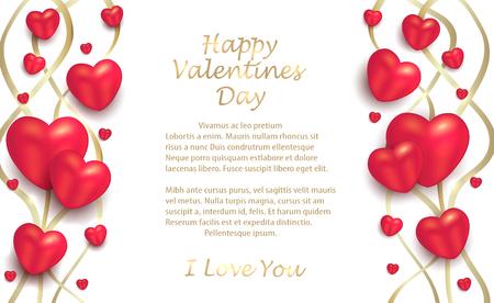Herzen und Bänder gold auf weißem Hintergrund, Grußkarte zum Valentinstag für Liebhabervektor