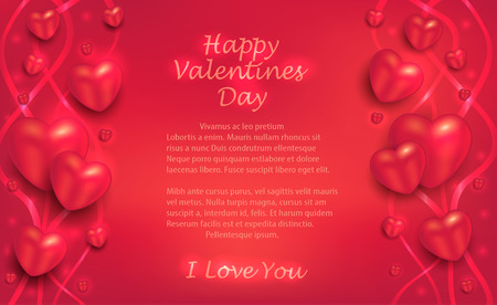 Hearts and ribbons on a red background, greeting card to Valentine's Day for lovers vector