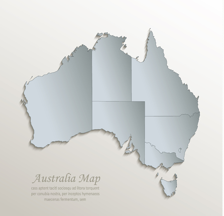 Australia map white blue separate individual states card paper 3D vector