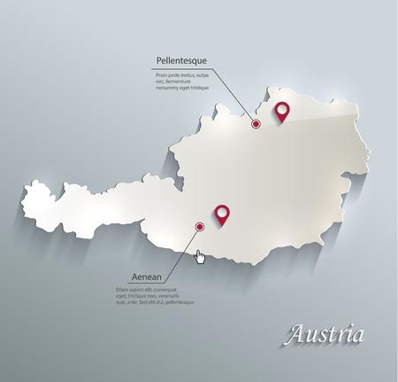 Austria map blue white card paper 3D vector