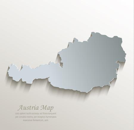Austria map white blue card paper 3D vector