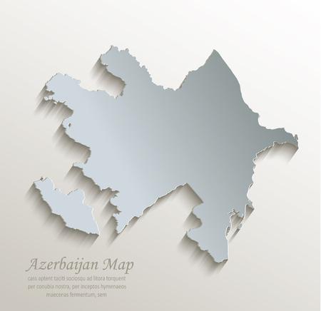 Azerbaijan map white blue card paper 3D vector