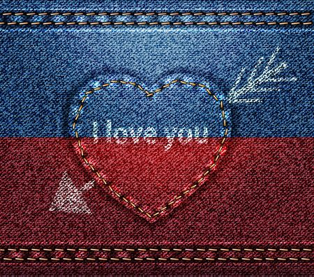 Jeans heart pierced with arrow, I love You, texture fabric denim, blue red vector