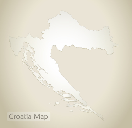 Croatia map old paper background vector