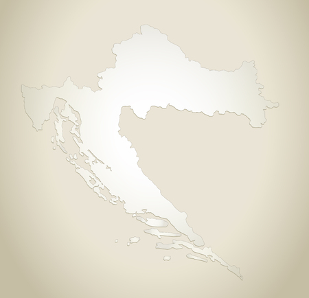 Croatia map old paper background raster Stock Photo