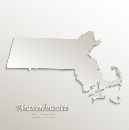 Massachusetts map card paper 3D natural vector