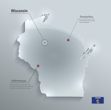 Wisconsin map glass card paper 3D vector