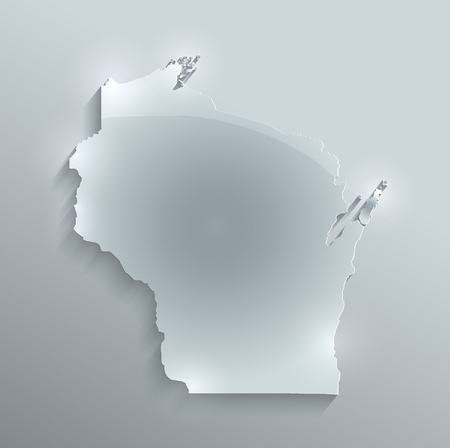 Wisconsin map glass card paper 3D raster blank