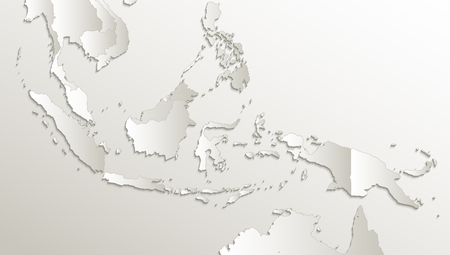 Indonesia map, state names, separate states, individual region, card paper 3D natural raster blank