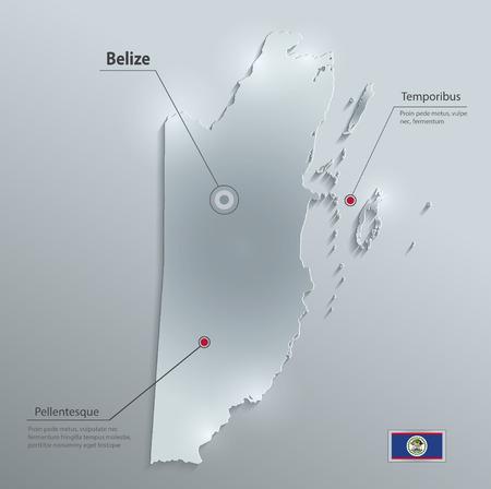 Belize map flag glass card paper 3D vector