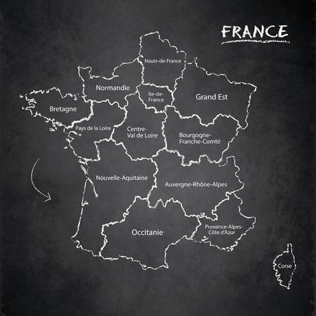 La Francia mappa i nomi delle regioni separate la lavagna della scheda individuale vettore Vettoriali
