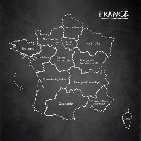 France map separate region names individual card  blackboard chalkboard vector
