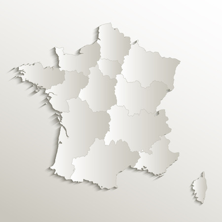 France map separate region names individual card paper 3D natural blank