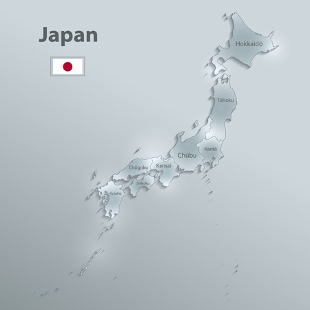 Japan map flag separate region names individual glass card paper 3D vector Illustration