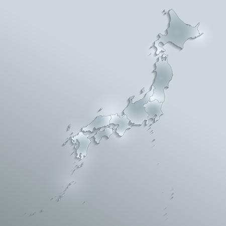 Japan map separate region names individual glass card paper 3D blank