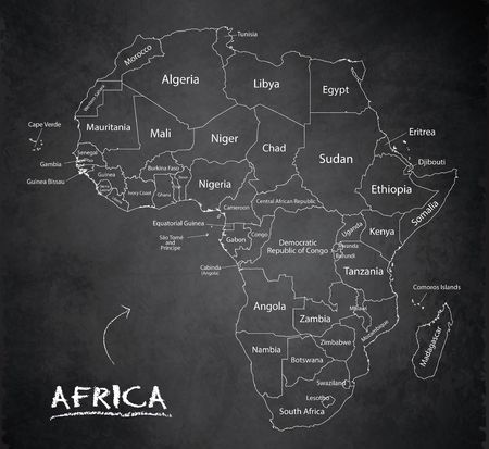 Africa map, new political detailed map, separate individual states, with state names, card blackboard school chalkboard vector
