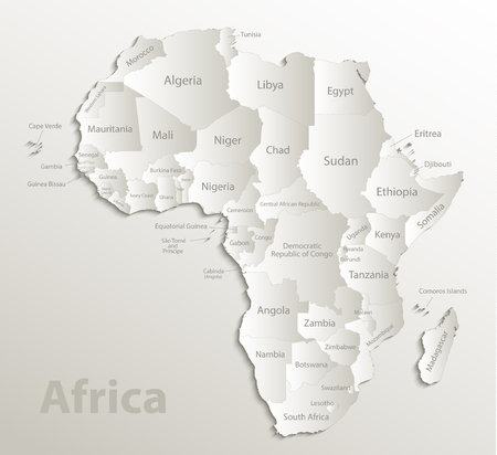 Africa map, new political detailed map, separate individual states, with state names, card paper 3D natural vector