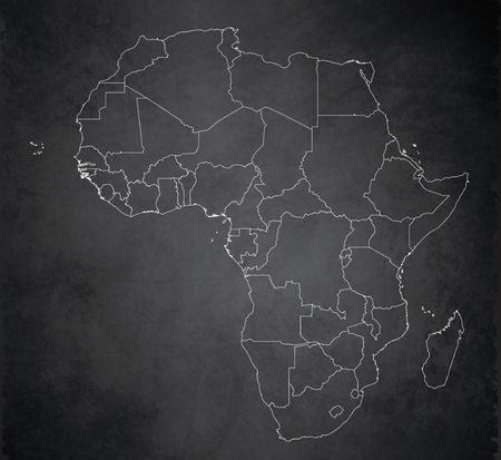 Africa map, new political detailed map, separate individual states, with state names,  card blackboard school chalkboard blank