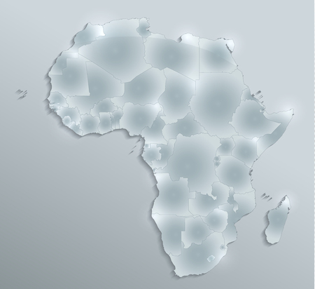 Africa map, new political detailed map, separate individual states, with state names, glass card 3D blank Imagens