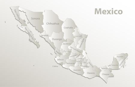 Mapa de México, nuevo mapa político detallado, estados individuales separados, con nombres de estado, vector natural 3D de papel de tarjeta