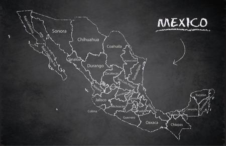 Mapa de México, nuevo mapa político detallado, estados individuales separados, con nombres de estado, vector de pizarra de escuela de pizarra de tarjeta